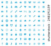 100 birthday icons  blue on... | Shutterstock . vector #248191159
