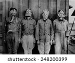 Soldiers Wearing Ww1 Gas Masks...