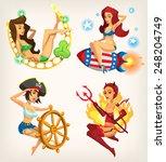 set of beautiful pin up girls... | Shutterstock .eps vector #248204749