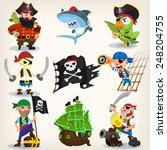 set of fearless pirates at sea... | Shutterstock .eps vector #248204755