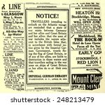 Small photo of German advertisement warning travelers of RMS Lusitania. May 1, 1915. The liner was torpedoed off the Irish coast by a German submarine on five days later.