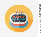 birthday cake flat icon with... | Shutterstock .eps vector #248240689