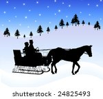 Silhouette Of Couple In Horse...