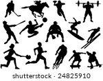 set of athlete silhouettes | Shutterstock .eps vector #24825910