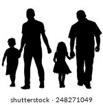 silhouettes of dads with kids | Shutterstock .eps vector #248271049