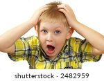 The boy the blonde experiences emotions. - stock photo