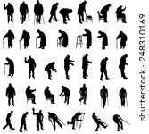 Vector Silhouette Of Old Peopl...