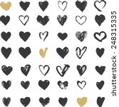 Heart Icons Set  Hand Drawn...