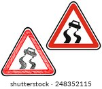 warning road sign. doodle style  | Shutterstock .eps vector #248352115