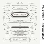 Set of Vintage Decorations Elements. Flourishes Calligraphic Ornaments and Frames. Retro Style Design Collection for Invitations, Banners, Posters, Placards, Badges and Logotypes. | Shutterstock vector #248385769