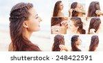 greek style beach hairdo... | Shutterstock . vector #248422591