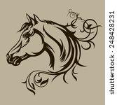 Stock vector symbol tattoo horse for design 248428231