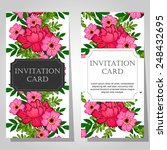 set of invitations with floral... | Shutterstock .eps vector #248432695