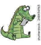 Cartoon Crocodile Using A...
