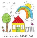 childish doodle of a rainbow...   Shutterstock .eps vector #248461369