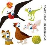 set of cute comic animals ... | Shutterstock .eps vector #248463937