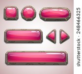 set of cartoon pink buttons for ...