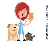 girl holding cute pets vector... | Shutterstock .eps vector #248514931