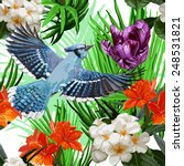 blue bird and exotic flowers | Shutterstock .eps vector #248531821