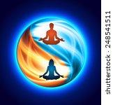 Man And Woman Meditation On...