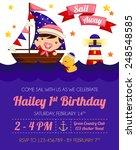 nautical baby girl birthday... | Shutterstock .eps vector #248548585