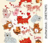 valentine's day kitties and... | Shutterstock .eps vector #248574691