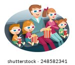 family watching movie   Shutterstock .eps vector #248582341