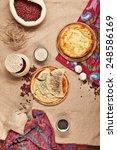 georgian or uzbek food set with ... | Shutterstock . vector #248586169