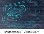 computer screen with cloud... | Shutterstock . vector #248589874