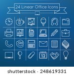 linear vector office icons set...