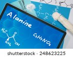 Small photo of Tablet with the chemical formula of Alanine