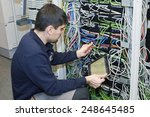 technician is cutting wires... | Shutterstock . vector #248645485