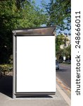 a blank white sign on bus... | Shutterstock . vector #248666011