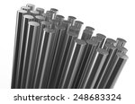 Rolled Metal  Rods Isolated On...