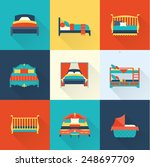 vector bed icon set | Shutterstock .eps vector #248697709