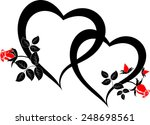 Black Hearts With Red Rose Buds....