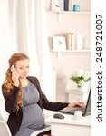 pregnant business lady at work. ... | Shutterstock . vector #248721007