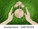 paper cut of eco on green grass | Shutterstock . vector #248735269