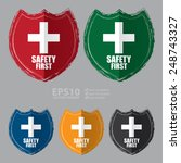 vector   safety first shield... | Shutterstock .eps vector #248743327