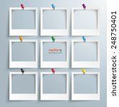 photo frames with thumbtacks on ... | Shutterstock .eps vector #248750401