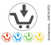 shopping cart flat icon. set...