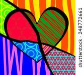 heart pop art fruits... | Shutterstock . vector #248772661