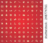 100 crisis icons  yellow on red ... | Shutterstock . vector #248774761