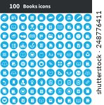 100 books icons  blue circle... | Shutterstock . vector #248776411