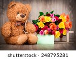 roses and a teddy bear on... | Shutterstock . vector #248795281