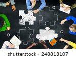group of people blackboard... | Shutterstock . vector #248813107