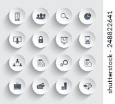 16 business trendy round icons...