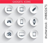 gadgets trendy 3d round icons...