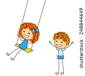 cute little kids with swing | Shutterstock . vector #248844649