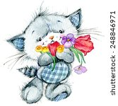 Stock photo funny kitten and flower for holiday greetings card and kids background watercolor illustration 248846971